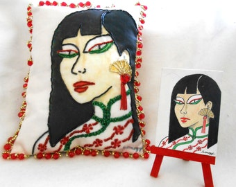 BEADED PORTRAIT PILLOW 10x8, Whimsical Asian Woman, My Original Painting Printed on Fabric, Beaded/Jeweled Tiny Accent Pillow, Free Shipping
