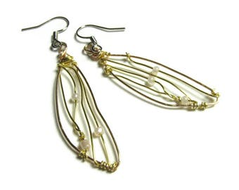 Silver and Gold Earrings Fairy Earrings Faerie Wings Jewelry Fantasy Wire Wrapped Insect Dragonfly