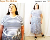CLEARANCE - FINAL SALE - Plus Size - Vintage Blue & White Stripe V-Neck Dolmen Sleeve Shirt (Size 14/16)