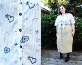 Plus Size - Vintage Blue & White 'Love Letter' Blouse (Size 20/22)