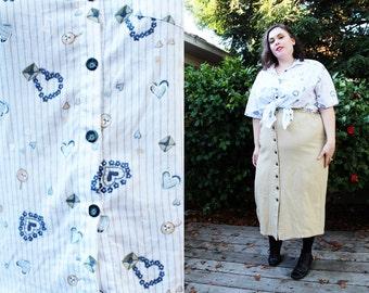 Plus Size - Vintage Blue & White 'Love Letter' Blouse (Size 20/22)