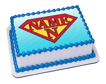 On Sale- Personalized Edible Icing Image Birthday Decoration Cartoon ADD YOUR NAME Super Hero Cake Topper (Nct311)