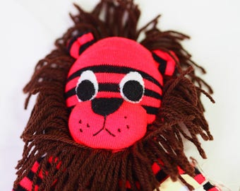 Lenny Lion. Sock animal, sock lion, sock monkey, soft plush toy for children.