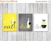 ON SALE Kitchen Wall Art Print Set - Eat Drink Love -  Yellow, Grey, Black, White // Modern Kitchen Decor // Set of (3) Many Sizes // Unfram
