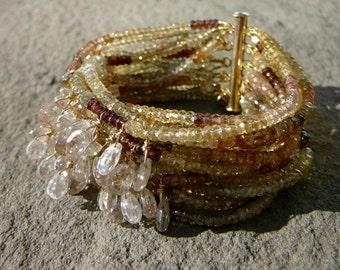 Multi Color Bracelet, Gemstone Bracelet, Multi Strand Bracelet, Multistrand Bracelet, Zircon Jewelry, Gemstone Jewelry, Zircon, Gemstone