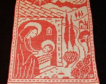God Jul / Merry christmas hand embroidered wall hanging 1981