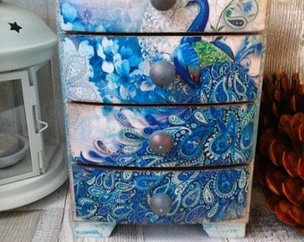 Peacock Mini Chest of Drawers, Decoupage, Shabby Chic, Vintage,