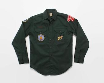 Vintage 60s Boy Scout SHIRT / 1960s BSA EXPLORER New Orleans Council 202 Geological Patches M