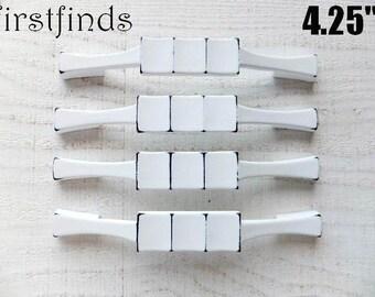 2 Painted Cabinet Handles Shabby Chic White Furniture Drawer Pulls Plate Hardware Kitchen Cupboard Dresser 4.25inch ITEM DETAILS BELOW