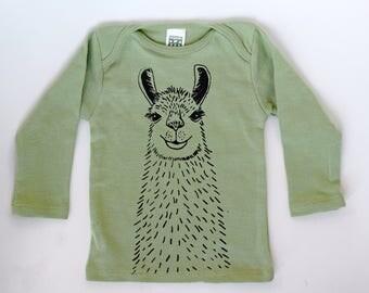 Llama Baby Tee // Olive // Organic Cotton