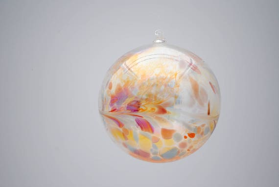 e00-64 Extra Large Iridescent Ornament Translucent with colorful chips melted on top