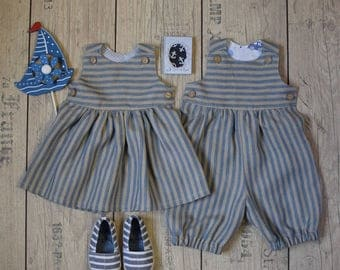 Baby twin outfit Twin boy and girl outfir Baby girl dress Baby boy ropmer Twin linen set 1st Birthday party outfit Family photo outfit