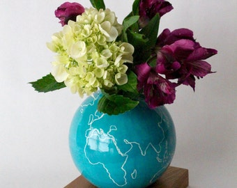 globe vase, teal blue vase, ceramic wood vase, Ceramic Vase, Flower Vase, Bud Vase, Modern, Hostess Gift, Wedding Gift, small vase