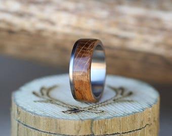 Mens Wedding Band Whiskey Barrel Ring - Staghead Designs