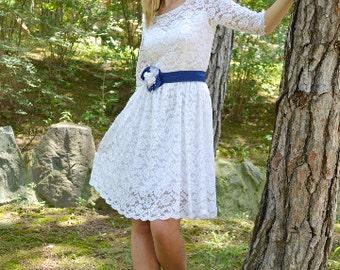 SALE Short Wedding Dress, Tea Length Dress, White Wedding Dress, 1950 Inspired Dress, Lace Wedding Dress, Sleeves Dress, Simple Dress, Dress
