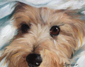 NEEDLEPOINT CANVAS PRINT Cairn Terrier Dog Art by Mary Sparrow white puppy face canine portrait by Mary Sparrow of Hanging the Moon