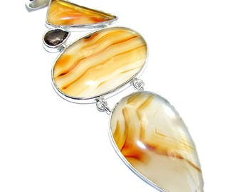 Scentic Agate, Smoky Topaz Sterling Silver Pendant - weight 21.70g - dim L - 3 7 8, W - 1 5 8, T - 3 16 inch - code 24-sie-16-61