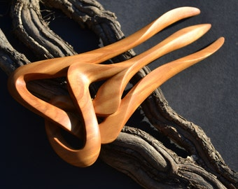 Sculptured Hairfork, handcaved from Olivewood