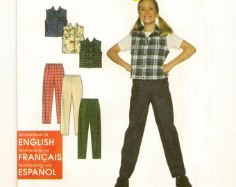 A Button-Up Collared Vest and Elastic Waist Straight Leg Pants Sewing Pattern: Uncut - Girls Sizes 7-8-10-12-14 ~ Simplicity 7937