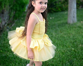 Boutique Handmade Belle, Beauty and the Beast inspired 3pc set. Birthdays, Pageants, Performance, Costume. Sizes 2T-10