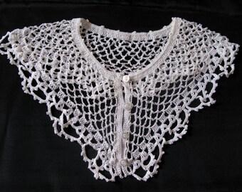 Detachable Collar, White Detach Lace Collar, crochet neck accessory, antique shawl