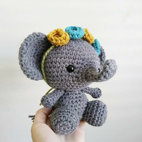 Crocheted Elephant Nursery Decor / Amigurumi / Gift