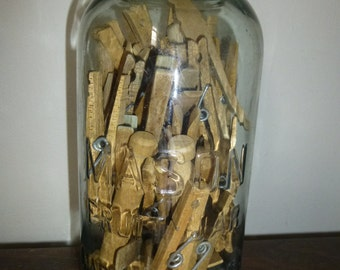 Charming Country Cottage Chic Clothes Pins in Mason Fruit Jar - 50+ assorted wood pins in Mason Fruit Jar 1/2 Gallon Jar