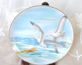 Spring Sale Crescent City California Souvenir Plate, Sea Gulls Flying Over the Ocean, Blues and Grays, Vintage Item