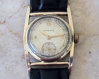 """Longines Watch  Free Shipping, Art Deco, Caged Case, """"Mainliner"""" Model, Classic Vintage Men's Watch, 17 Jewel 10L Movement, Working, Rare"""