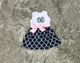 Monogram baby girl clothes, baby girl easter outfit, toddler dresses, infant clothes, Navy and light pink dress, Spring Easter dresses