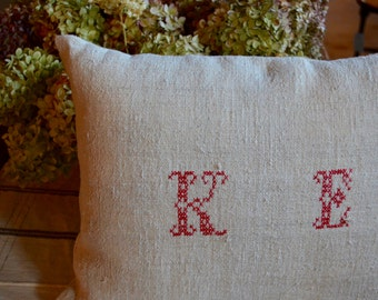 Authentic Vintage European Grain Sack Monogrammed Pillow