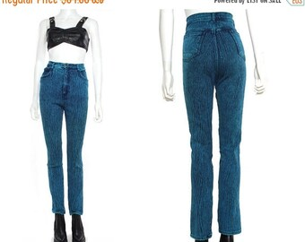 20%OFF Vtg 80s 90s Blue Acid Wash High Waist Skinny Jeans Pants Leggings M-L