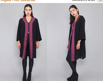 SALE 25% OFF Vtg 80's 90's Silk Geometric Striped Print Sleeve Tunic Dress M