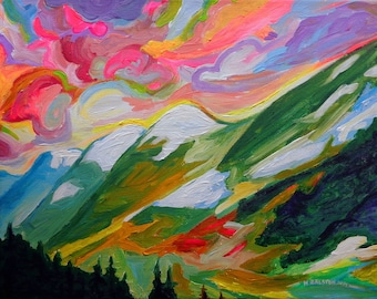 Art Print, Coquihalla Sunrise, Colorful Canadian Mountain and Sky Art