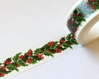 Christmas Washi Tape Print 'HOLLY GARLAND' From MechaKucha808  15mm x 10 Meters