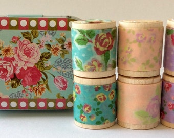 """Designer Washi Tape """"Itty Bitty Shabby Chicy"""" in Collectible Baby Blue Tin. Set of Six 1 yard tiny spools Featuring Tape from Colte Japan."""