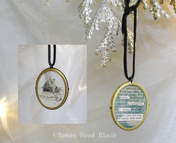 Miniature Writer Mouse and Found Poem Ornament - Be Merry