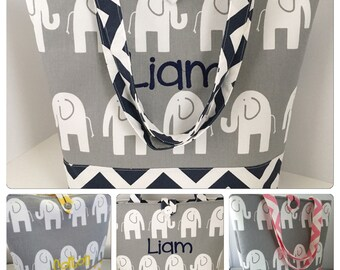 Large Modern Diaper Bag/Tote...Grey Elephants with Chevron...Your Choice of Chevron Color...Can Be Personalized...Shower Chic