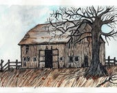 Original Pen and Ink and Watercolor Painting of an Old Weathered Barn