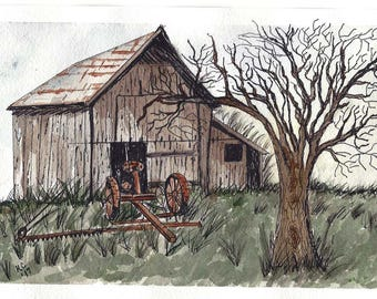 Original Pen and Ink with Watercolor Painting - Old Barn with Rusty Farm Equipment - Not a Print