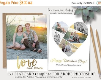 ON SALE Valentines Day 5x7 Card Template for Adobe Photoshop ,5x7 Print Template for Adobe Photoshop, sku v17_1