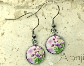 Purple wildflower earrings, wildflower drop earrings, purple flower earrings, purple wildflower drop earrings, dangle earrings, PL126DP