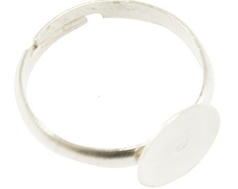White Silver Adjustable Ring Blank Base 14x8mm - SM/Child/Midi