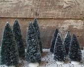 CHRISTMAS SALE BOTTLE Brush Trees - Set of 8, Vintage Christmas Trees, Flocked, Plastic Bases, Holiday Decor, Christmas, Village Trees, 7 1/