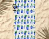 Cactus Beach Towel, cactus towel, blue beach towel, white beach towel, blue white towel