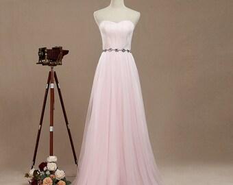 2017 Tulle Bridesmaid Dress, Mesh Formal dress, Jewel belt  Formal Evening dress, Sweetheart bridesmaid dress, Prom dress floor length