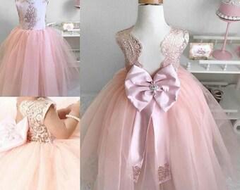 Cute princess lace | girls' lace dress | Pink lace dress.