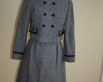 60s 1960s Wool Tweed Dress Suit Jacket Twiggy's dream