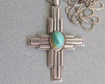 1970's Vintage Modernist Sterling Silver Turquoise CROSS Pendant Long Necklace