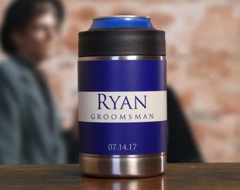 Gifts for Groomsmen, Personalized Can Coolers, Set of 6, Beer Coolers, Blue